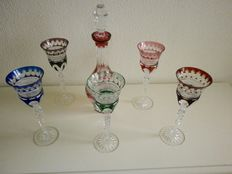 Five Saint Louis cut crystal wine glasses and a carafe, France, 20th century