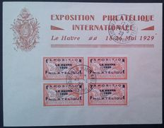France 1929 - Philatelic Exhibition of Le Havre, set of 4, on an envelope. Yvert no. 257A