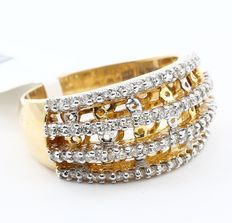 Yellow Gold 0.72 ct  4 row Diamond ring made of 14 kt hallmarked yellow gold- no reserve price