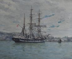 William Ayerst Ingram (1855 - 1913) - A sailing vessel off Falmouth.