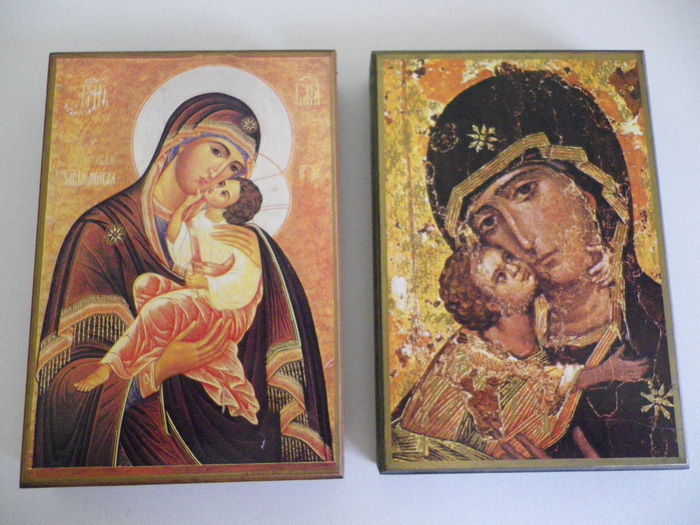 Icons of the Virgin and child - pious objects and Christians weathered old