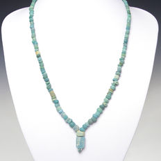 Necklace with Roman turquoise glass beads -  54 cm