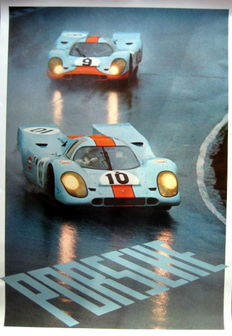 US-Import Poster. Gulf Porsche 917s at Brands Hatch 1970. No.10 Pedro Rodriguez, no. 9 # 9 was Jo Siffert/Brian Redman