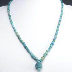 Necklace with Roman turquoise glass beads - 48 cm