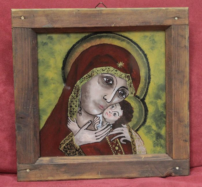'Madonna with child', religious painting behind glass, dark brown wooden frame, from a private collection