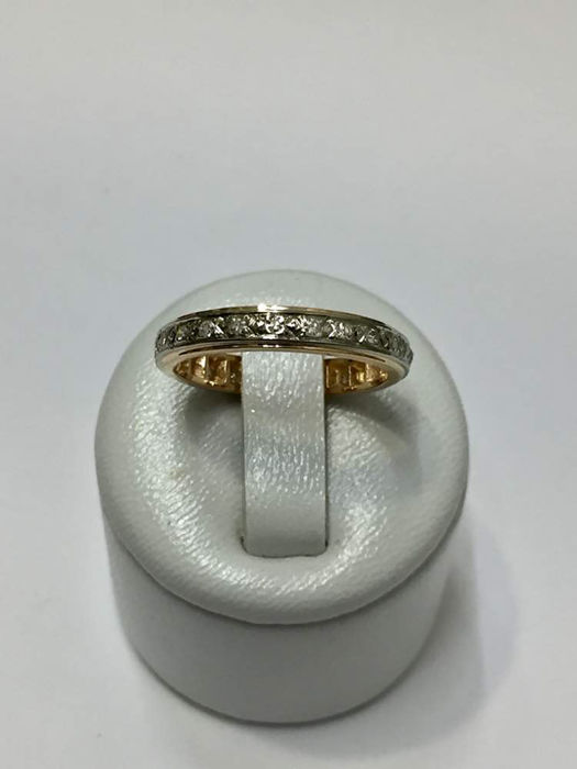 American Wedding Ring In Two Colour Gold Set With 24 Diamonds