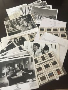 Presskit slides and black & white promo photos from 55 Days at Peking, All Presidents Men, US Marshals, Grumpy old men, Scarecrow