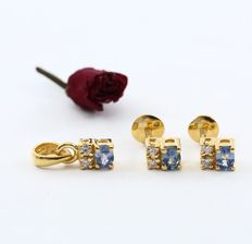 Yellow Gold, 1.18 ct  Diamonds and Blue Sapphires pendant with matching earring studs
