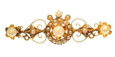Antique Victorian gold brooch with pearls - Belgium - circa 1880