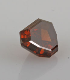 1.60 Cts., Modified Shield Step Cut, Natural Fancy Dark Orangey Brown-SI1 (Estimated Clarity)