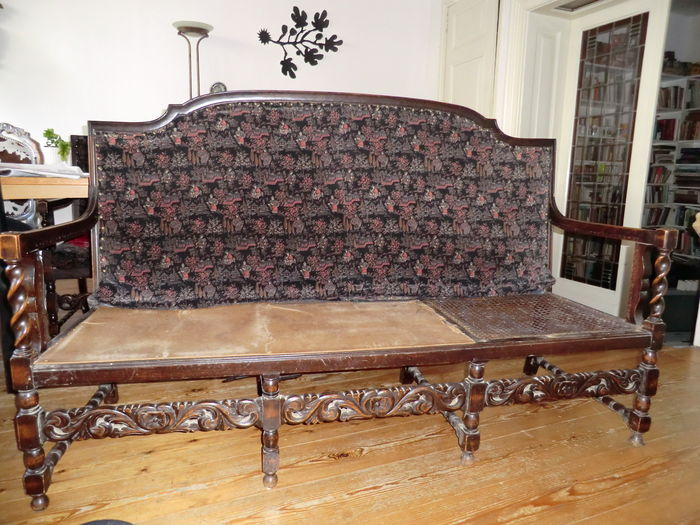 Mahogany Sofa/bench With Webbing Ca. 1920 (?), Turned And Wood