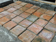 French hand baked unglazed flagstones - 23 m2 - France - approx. 1920
