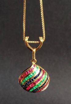Gold pendant with diamonds and 90 coloured gemstones and diamonds