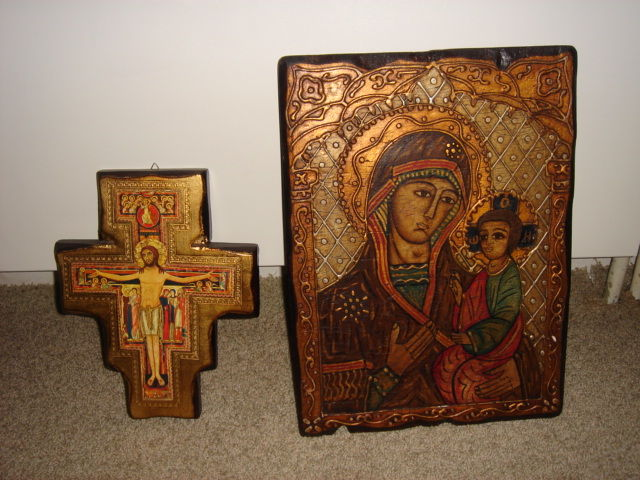 Icon on wood plus Icon cross