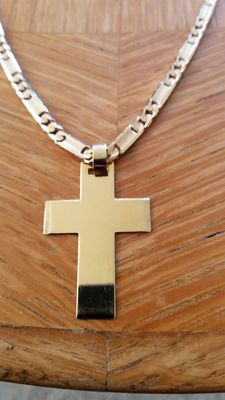 Men's necklace gold 18 kt with  gold cross pendant 18 kt.
