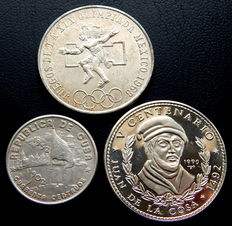 Cuba and Mexico - 40 cents from 1952, 10 Pesos from 1990 and 25 Pesos from 1968 - Silver - 3 coins