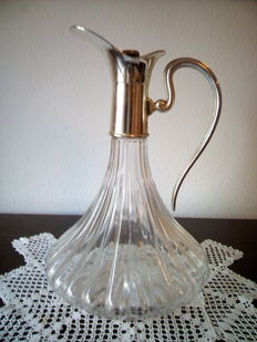 Silver plated and cut glass decanter -  England,  1950 / 60