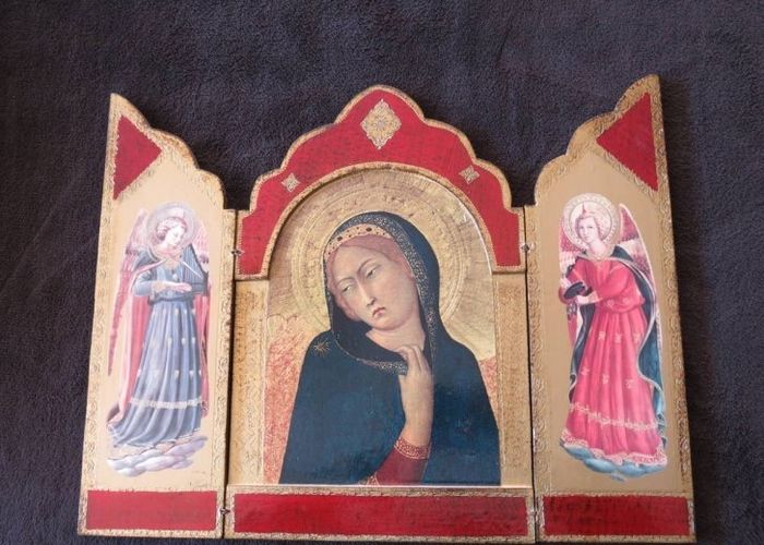 Beautiful Wooden triptych Madonna - painted on wood - Rare - 20th century.