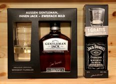 """2 bottles: Jack Daniels, Gentleman Jack with Tumbler (New Limited Edition) + Jack Daniels No 7 -150th Anniversary """"1866-2016"""", Gift box with Glas, 2x70cl"""