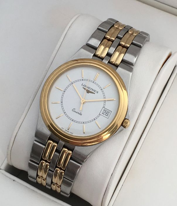 bca73e6c527 Longines Flagship two tone goldplated with the original bracelet -- mens  watch -- 1980s