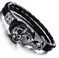925 silver bracelet in a Gothic style, with double braided black leather cuff, set with cut black tourmaline gemstones.