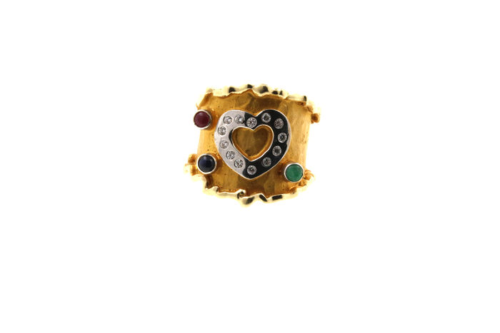 Multi-colour heart gold ring 585/14 kt with ruby, emerald, sapphire and zirconia – dimensions: ring size approx. 58