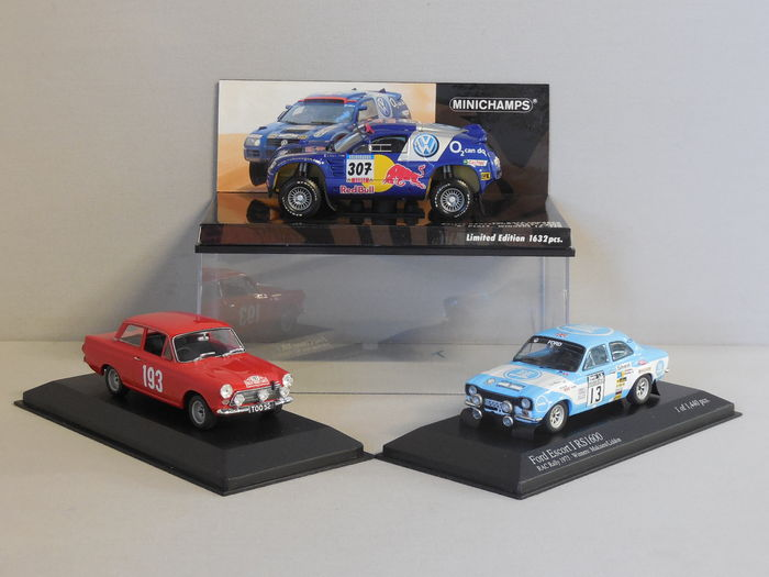 Minichamps - Scale 1/43 - Lot with 3 rally models: 2 x Ford & 1 x Volkswagen