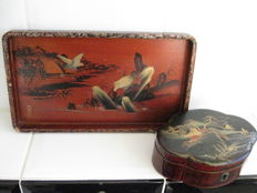 Lacquer tray and lacquer box - Japan - ca. 1920