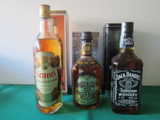 3 bottles: - Grant's Stand Fast 86 Poof 75 cl – Chivas Regal 12 years 70 cl  - Jack Daniels 70 cl