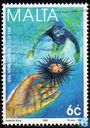 Briefmarken - Malta - Seeigel und Taucher
