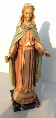 Madonna delle Rose – Beautiful Madonna statue – 43 cm - 3rd quarter 20th century.