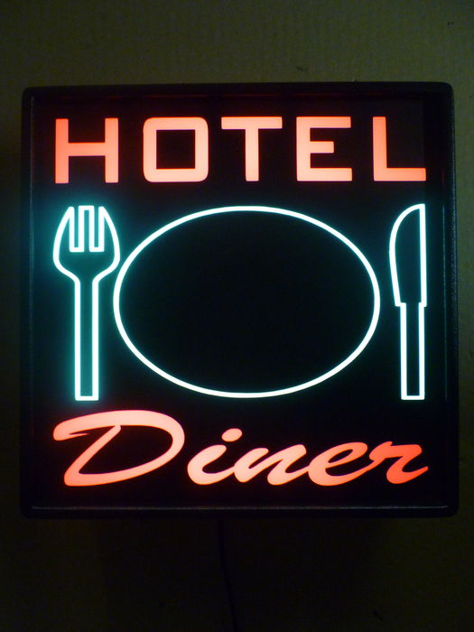 HOTEL/Diner, advertising wall lamp 30 x 30 cm