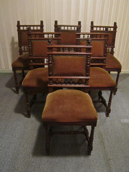 Mechlinian (Belgian) Style: 6 Elegant Chairs With Lion Heads + Fold Out
