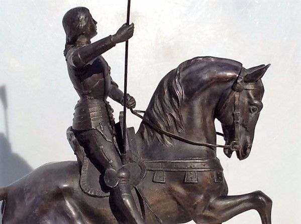 Beautiful metal image of Joan of arc on horseback - France - 1st half 20th century