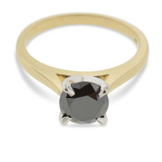 1.64 ct Black Diamond Solitaire Ring in 14kt Two Tone Yellow & White Gold