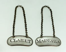 Pair of silver decanter labels, Thomas Phipps & Edward Robinson, London, 1803
