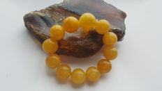 Baltic amber egg yolk butterscotch bracelet with round beads