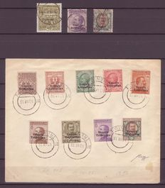 Trentino-Alto Adige, 1918, 3 cancelled stamps and one unmailed letter, Caffaz