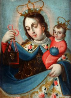 Spanish school (18th c.) - Virgen de la perla con Niño