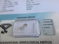 0.40 ct brilliant cut natural diamond, I I1 VG/G/VG