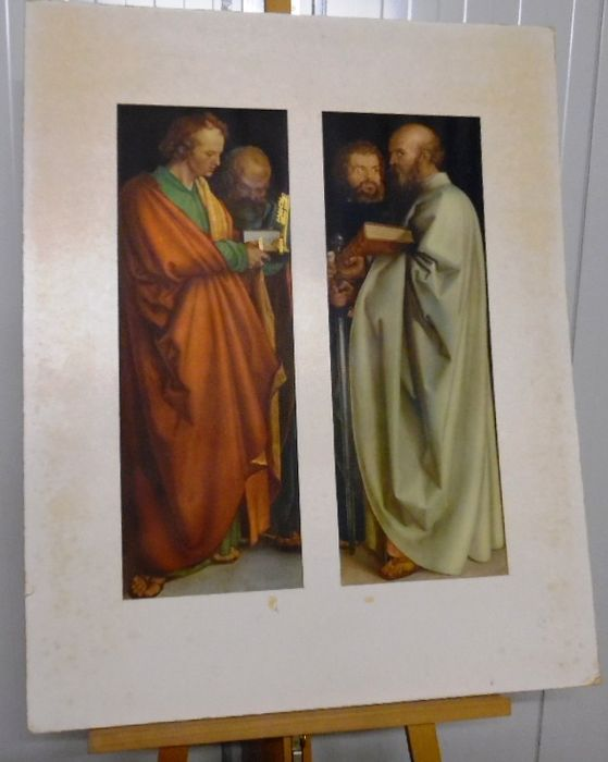Wall plate - The four apostles - diptych in pas partout. after a painting of Albrecht Durer (1471-1528)