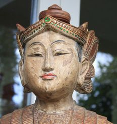 A carved wood statue - Asia, probably Thailand - second half 20th century