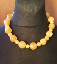 Real Natural Amber egg yolk butterscotch yellow color necklace