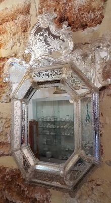 An outstanding Murano engraved glass wall mirror - Venice, Italy - late 19th C