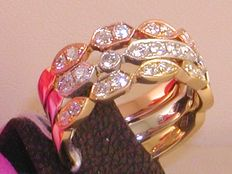 18K Tricolour Gold Triple Diamond Memory Ring 1,72ct. - size 53