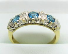 Blue Topaz and Diamond Eternity 9kt Gold Ring