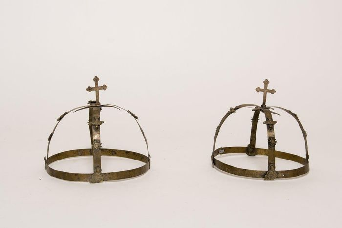 Greek Orthodox brass wedding crowns, late 19th century