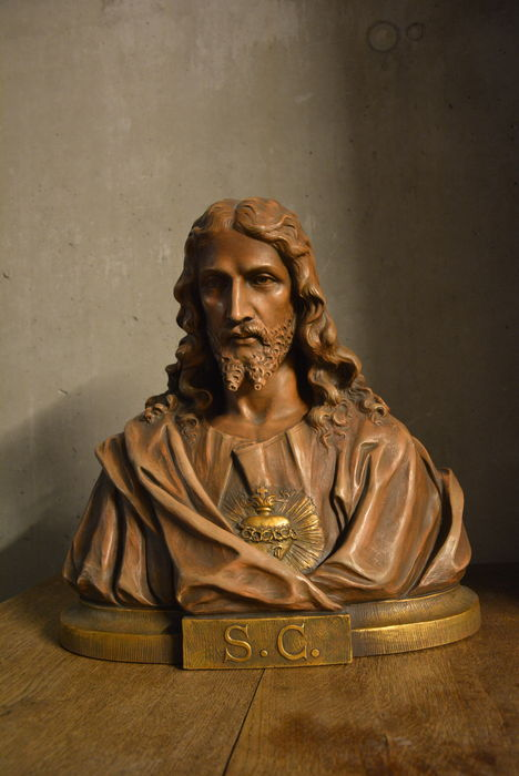 Exceptionally large bust Jesus Christ in terracotta (no plaster !!) - Belgium - Late 19th century
