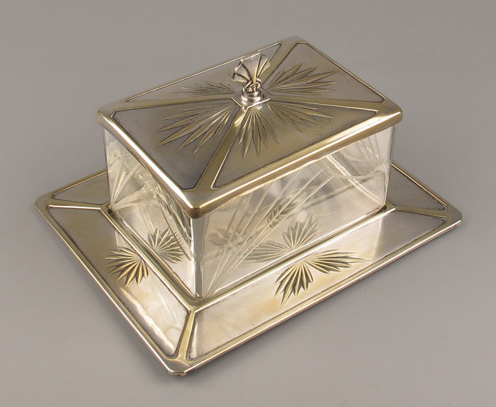 Art Nouveau, silver plated brass and glass cookie jar/biscuit tin