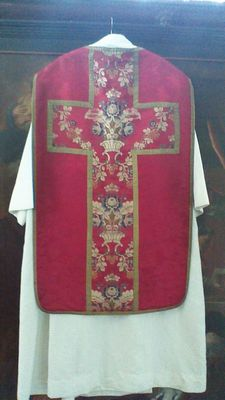 Chasuble in silk stoles in silk tunic in cotton - Slabbinck - Bruges, late 19th-early 20th century